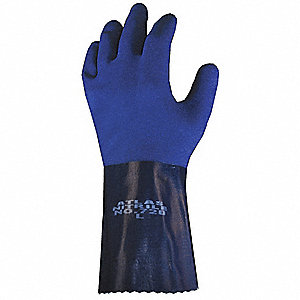Nitrile Chemical Resistant Gloves, 15 mil Thickness, Knit Lining, Size 2XL, Blue, PR 1