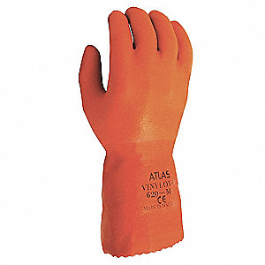 PVC Chemical Resistant Gloves, Cotton Lining, Size 2XL, Orange, PR 1