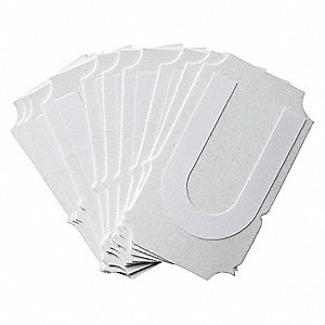 "Letter Label, U, White, 2"" Character Height, 10 PK"