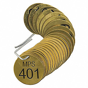 "Numbered Tag, Brass, Round, Height: 1-1/2"", Width: 1-1/2"", Brass"