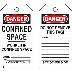 Danger Tag,Confined Space,Econ Poly,PK25