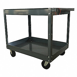 Steel Flat Handle Deep Shelf Utility Cart, 500 lb. Load Capacity, Number of Shelves: 2