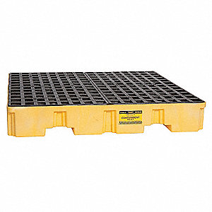 Spill Containment Pallets, Uncovered, 66 gal. Spill Capacity, 8000 lb.