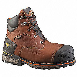 "6""H Men's Work Boots, Composite Toe Type, Leather Upper Material, Brown, Size 7-1/2W"
