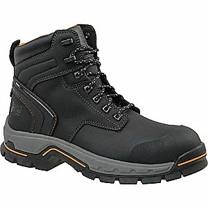 "6""H Men's Work Boots, Alloy Toe Type, Microfiber Leather Upper Material, Black, Size 11-1/2M"