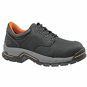 Men's Work Boots, Alloy Toe Type, Microfiber Leather Upper Material, Black, Size 9W