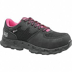 Women's Athletic Work Shoes, Alloy Toe Type, Microfiber/Mesh Upper Material, Black/Pink, Size 6-1/2W
