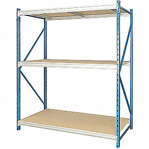 "Starter Bulk Storage Rack with Particle Board Decking and 3 Shelves, 96""W x 48""D x 123""H"