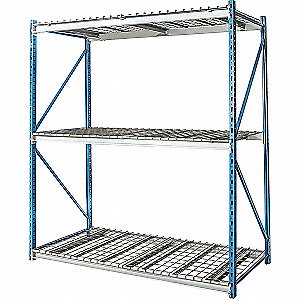 "Starter Bulk Storage Rack with Steel Wire Decking and 3 Shelves, 72""W x 48""D x 123""H"