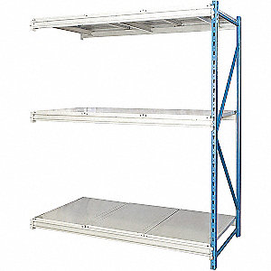 "Add-On Bulk Storage Rack with Steel Decking and 3 Shelves, 72""W x 24""D x 123""H"