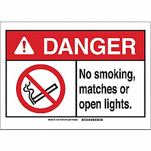 Danger No Smoking Sign,Matches,7x10