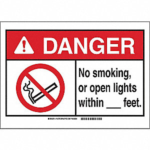 "No Smoking, Danger, Polyester, 10"" x 14"", Adhesive Surface, Not Retroreflective"