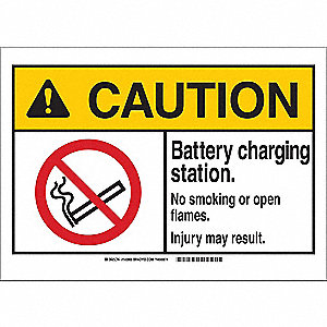 "No Smoking, Caution, Polyester, 10"" x 14"", Not Retroreflective"