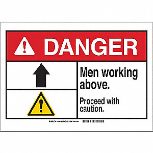 "Person Working, Danger, Polyester, 10"" x 14"", Adhesive Surface, Not Retroreflective"