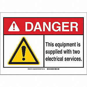 "Electrical Hazard, Danger, Plastic, 7"" x 10"", With Mounting Holes, Not Retroreflective"