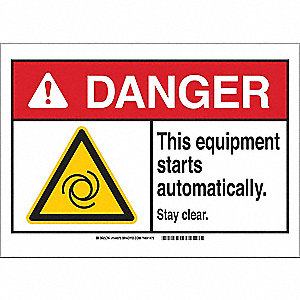 Danger Sign,Stay Clear,B-120,7in.H