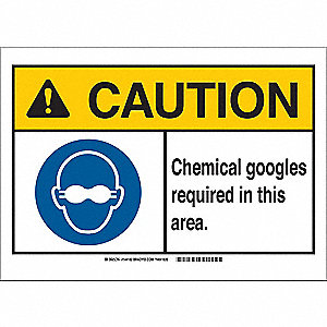 Caution Sign,10in.Hx14in.W,Goggles