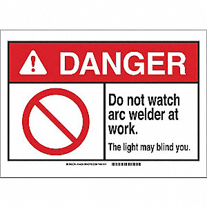 "Welding Hazard, Danger, Plastic, 7"" x 10"", With Mounting Holes, Not Retroreflective"