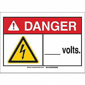 "Electrical Hazard, Danger, Polyester, 10"" x 14"", Adhesive Surface, Not Retroreflective"