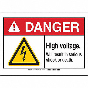 "Electrical Hazard, Danger, Fiberglass, 10"" x 7"", With Mounting Holes, Not Retroreflective"