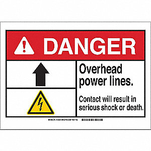 Danger Sign,Overhead Power,B-401,7in.H