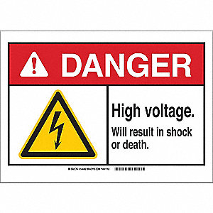 "Electrical Hazard, Danger, Aluminum, 7"" x 10"", With Mounting Holes, Not Retroreflective"