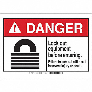 Danger Sign,Lock Out Equip,B-555,7in.H