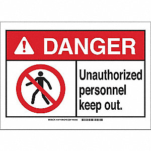 "Authorized Personnel and Restricted Access, Danger, Plastic, 10"" x 14"", With Mounting Holes"