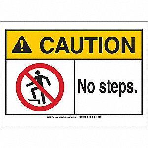 Caution Sign,14in.W,Aluminum,No Steps