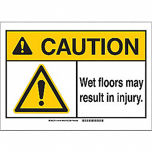 Caution Sign,10in.Hx14in.W,Wet Floor
