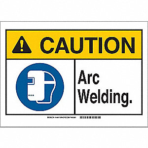 "Welding Hazard, Caution, Aluminum, 7"" x 10"", With Mounting Holes, Not Retroreflective"
