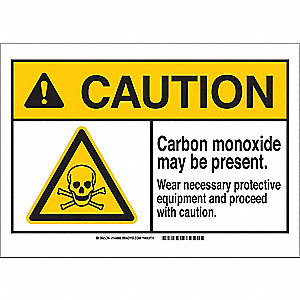"Personal Protection, Caution, Polyester, 7"" x 10"", With Mounting Holes, Not Retroreflective"