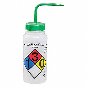 Wash Bottle,Std 16 oz,Methanol,Green,PK4