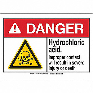 Danger Sign,Hydrochloric Acid,B-302,7inH