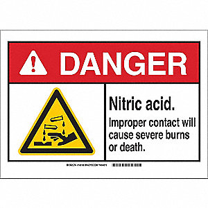 Danger Sign,Nitric Acid,B-555,10in.H