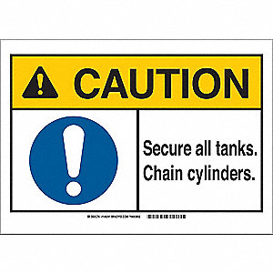 "Chemical, Gas or Hazardous Materials, Caution, Polyester, 7"" x 10"", With Mounting Holes"