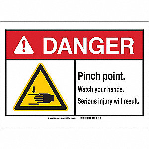 "Keep Hands Clear, Danger, Polyester, 7"" x 10"", Adhesive Surface, Not Retroreflective"