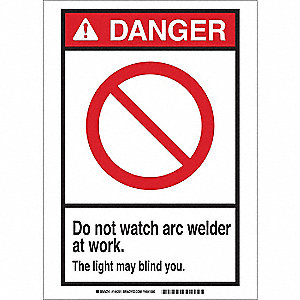 "Welding Hazard, Danger, Fiberglass, 20"" x 14"", With Mounting Holes, Not Retroreflective"