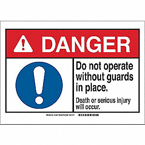Danger Sign,Guards,B-302,3-1/2in.H
