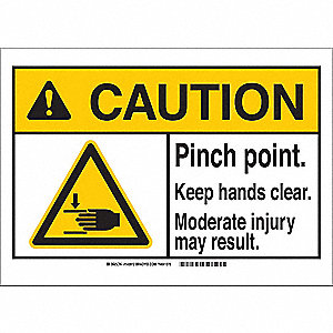 "Keep Hands Clear, Caution, Polyester, 3-1/2"" x 5"", Adhesive Surface, Not Retroreflective"