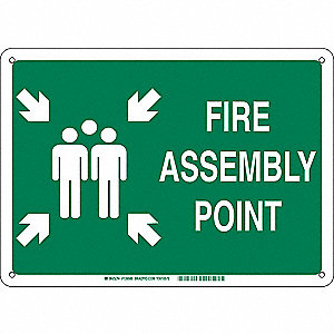 Fire Emergency Sign,Aluminum,24 in. W