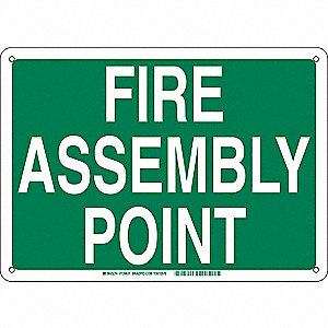 Fire Emergency Sign,Aluminum,Text,14in H