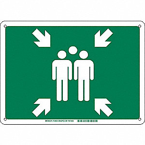 Emergency Sign,B-555 Alum,Symbol,10inH