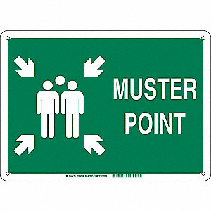 Emergency Sign,Muster Point,24in,Surface