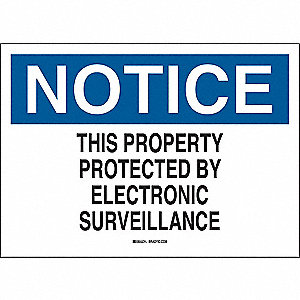 Notice Sign,Plastic,10 in. H x 14 in. W
