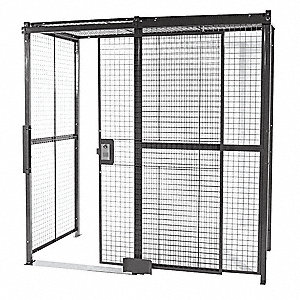 Welded Wire Partition,3 Sided,Slide Door