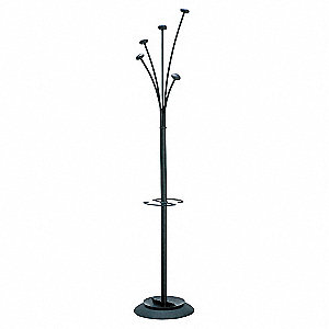 Coat Tree,Chrome,5 Knob,Black