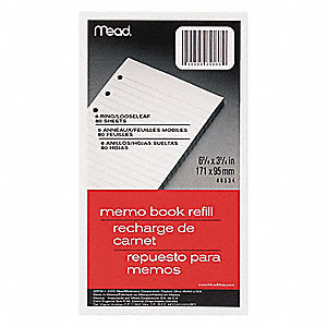 "Memo Book Refill, College Rule, 6-3/4 x 3-3/4"" Sheet Size"