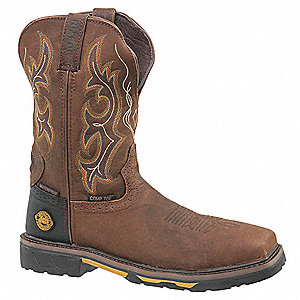 "11""H Men's Work Boots, Composite Toe Type, Leather Upper Material, Brown, Size 13D"
