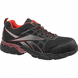 "3""H Men's Athletic Work Shoes, Composite Toe Type, Mesh Upper Material, Black/Red, Size 7W"